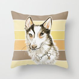 Husky Dog Watercolor on Yellow and Brown Stripe Background Throw Pillow