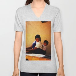 Chamula Woman and Child Unisex V-Neck