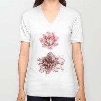 blush V-neck T-shirts featuring First Blush by Miranda Montes