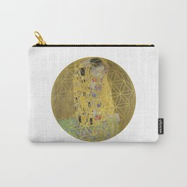 The Kiss - Gustav Klimt - Golden Flower Of Life Carry-All Pouch