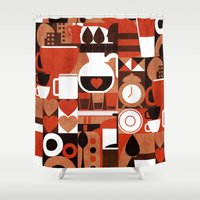 coffee Shower Curtains featuring Coffee Story by Picomodi