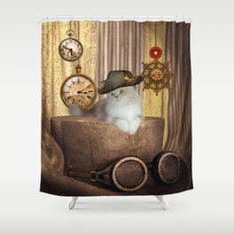 Steampunk, beautiful cat with steampunk hat Shower Curtain
