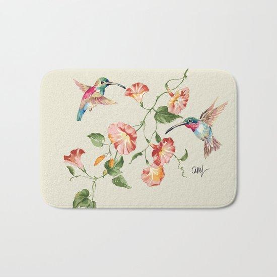 hummingbirds & morning glories Bath Mat
