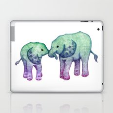 Baby Elephant Love - ombre mint & purple Laptop & iPad Skin