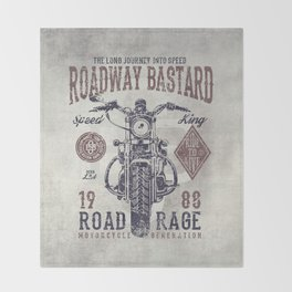 Vintage Motorcycle Poster Style Throw Blanket