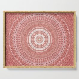 Pastel Peach White Boho Chic Mandala Serving Tray