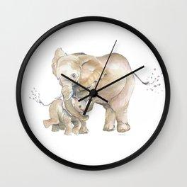 Mother's Love - Elephant Family Wall Clock
