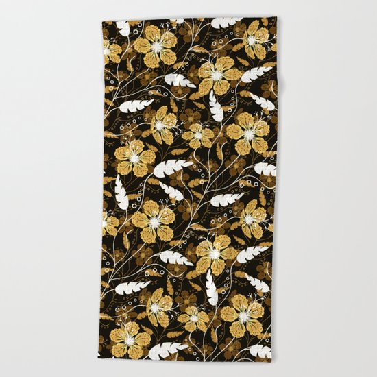 Abstract,floral pattern. Golden flowers on a black background. Beach Towel