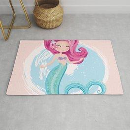 Cute little mermaid illustration Rug