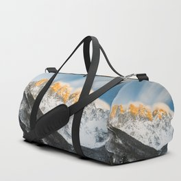 Last light of sunset on Slovenian Alps Duffle Bag