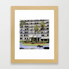 High-rise condo with palms and landscaping Framed Art Print
