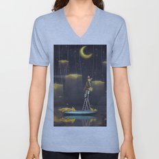 Man reaching for stars  at top of tall ladder Unisex V-Neck