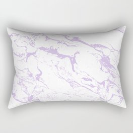 Modern trendy white pastel purple lavender marble pattern Rectangular Pillow