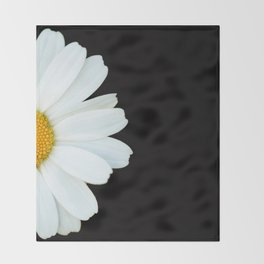 Hello Daisy - White Flower Black Background #decor #society6 #buyart Throw Blanket