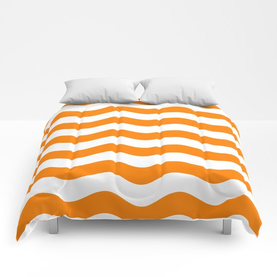 Wavy Stripes (Orange/White) Comforters