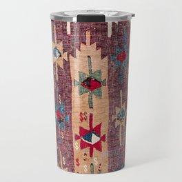 Horizontal Band Kilim 19th Century Authentic Colorful Purple Green Bands Vintage Patterns Travel Mug
