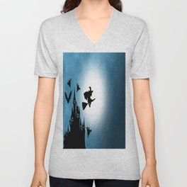 Blue Halloween Witch Silhouette Unisex V-Neck