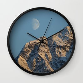 Moon Over Pioneer Peak - II Wall Clock