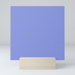 Small Cobalt Blue and White Houndstooth Check Pattern Mini Art Print