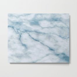 Light blue marble texture Metal Print