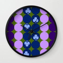 Blue clovers and purple haze Wall Clock