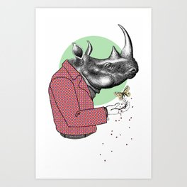 Cool Dude Rhino and Butterfly Art Print