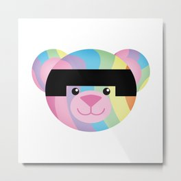 Classic Rainbow Bondage Bear Metal Print