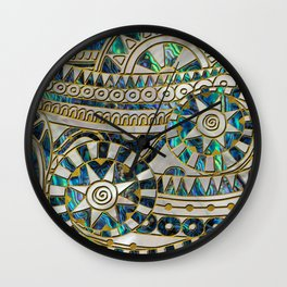Tribal Ethnic  Pattern Gold on Abalone Shell and Pearl Wall Clock