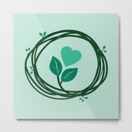 Cute heart in a nest Metal Print