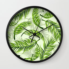 Trendy exotic floral pattern with palm leaves Wall Clock