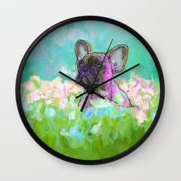 frenchie in the garden Wall Clock