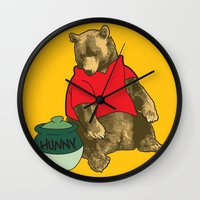 pooh Wall Clocks featuring Pooh! by Pieterjan Arends