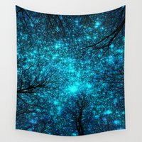 the fault Wall Tapestries featuring Black Trees Teal Space. by 2sweet4words Designs