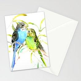Budgies, love bird green blue decor Stationery Cards