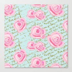 Pink  Roes and French Script Canvas Print