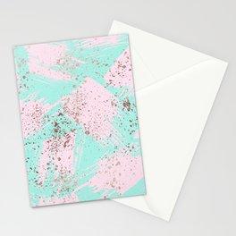 Rose Gold Paint Splatter Blush Pink Brushstrokes Stationery Cards