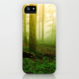 Misty Green Forest Photography iPhone Case