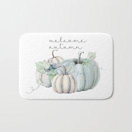 welcome autumn blue pumpkin Bath Mat