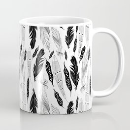 raphic pattern feathers on a white background Coffee Mug