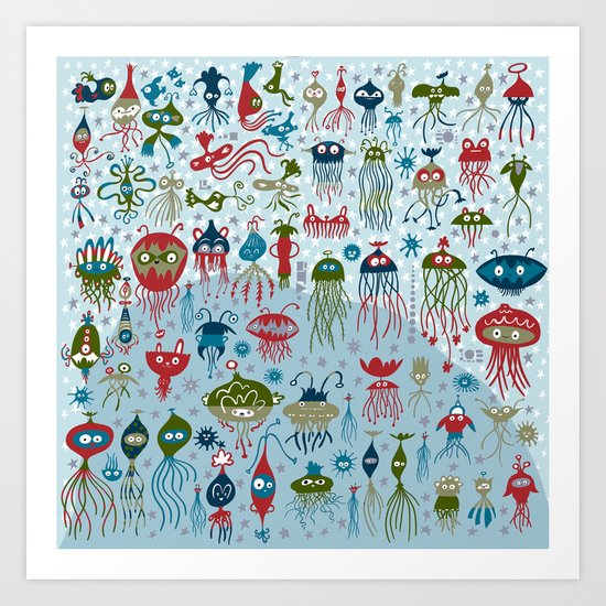 jelly fish gathering Art Print