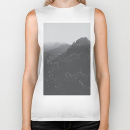 mountain in the forest with foggy sky in black and white Biker Tank
