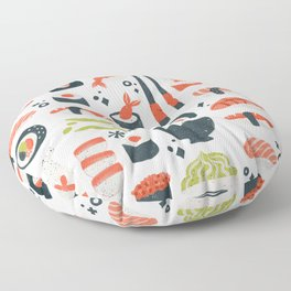 Sushi Dreams – White Floor Pillow