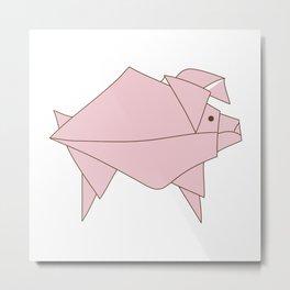 Origami Pig Metal Print