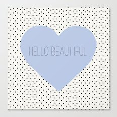 Hello Beautiful Heart - Periwinkle Canvas Print
