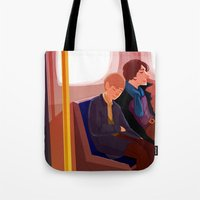 johnlock Tote Bags featuring Johnlock on the tube after a case by Sama Ma