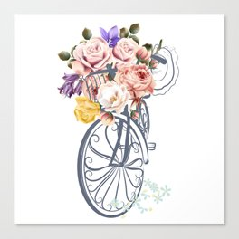 Cute design with bicycle and basket full of rose flowers Canvas Print