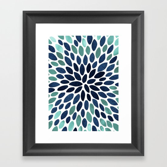 Flower Bloom, Aqua and Navy by meganmorrisart