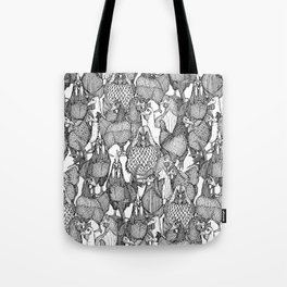just chickens black white Tote Bag