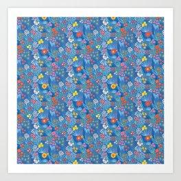 Flower Meadow Blue Art Print