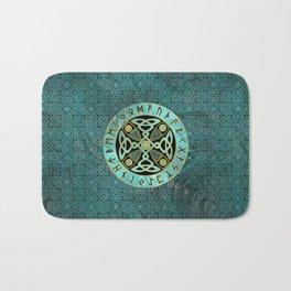 Decorative Celtic Cross  - and Runes alphabet Bath Mat